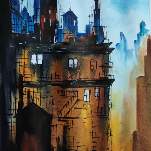 construction, 11 x 17 inch, shankhadeep  mondal,11x17inch,brustro watercolor paper,paintings,landscape paintings,paintings for dining room,paintings for living room,paintings for bedroom,paintings for office,paintings for kids room,paintings for hotel,paintings for kitchen,paintings for school,paintings for hospital,watercolor,GAL01403034841