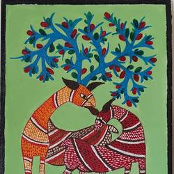 gond art, 8 x 10 inch, shubha shrivastava,8x10inch,canvas,folk art paintings,paintings for dining room,paintings for living room,paintings for office,paintings for dining room,paintings for living room,paintings for office,acrylic color,GAL02221334855