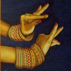 dance mudra, 30 x 30 inch, dr karunakaran k,30x30inch,canvas,paintings,folk art paintings,paintings for living room,oil color,GAL02314734856