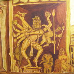 nataraja, 20 x 24 inch, dr karunakaran k,20x24inch,canvas,paintings,lord shiva paintings,paintings for living room,paintings for living room,oil color,GAL02314734860