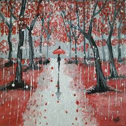 walk in the rain, 10 x 8 inch, rimi ganguly,10x8inch,canvas,paintings,landscape paintings,nature paintings | scenery paintings,paintings for dining room,paintings for bedroom,paintings for office,paintings for kids room,oil color,GAL02315634861