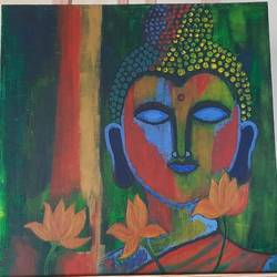 the calm buddha, 12 x 12 inch, rimi ganguly,12x12inch,canvas,paintings,modern art paintings,portrait paintings,paintings for dining room,paintings for living room,paintings for bedroom,paintings for office,acrylic color,GAL02315634863