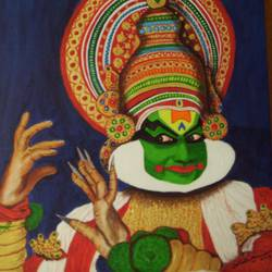 kathakali, 30 x 30 inch, dr karunakaran k,30x30inch,canvas,paintings,folk art paintings,paintings for office,paintings for hotel,acrylic color,GAL02314734865