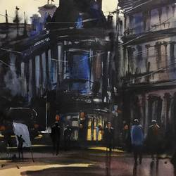 glasgow square, 11 x 15 inch, shankhadeep  mondal,11x15inch,handmade paper,paintings,cityscape paintings,landscape paintings,conceptual paintings,paintings for dining room,paintings for living room,paintings for bedroom,paintings for office,paintings for kids room,paintings for hotel,paintings for kitchen,paintings for school,paintings for hospital,watercolor,GAL01403034866