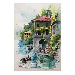 the european view - a watercolor art piece, 8 x 11 inch, payal singla,8x11inch,thick paper,landscape paintings,paintings for bedroom,paintings for bedroom,watercolor,paper,GAL02297034879