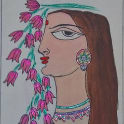 woman beauty, 11 x 16 inch, nikhil kamble,folk art paintings,paintings for living room,drawing paper,watercolor,11x16inch,GAL012123488