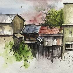 the huts at kasauli!, 15 x 12 inch, payal singla,15x12inch,thick paper,abstract paintings,cityscape paintings,landscape paintings,modern art paintings,paintings for dining room,paintings for dining room,watercolor,GAL02297034880
