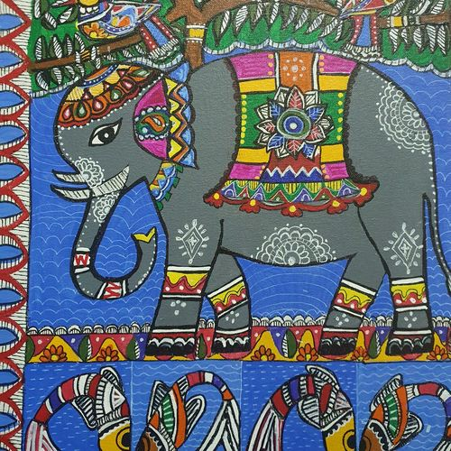 madhubanj, 12 x 14 inch, pallavee soni,12x14inch,canvas,paintings,madhubani paintings | madhubani art,paintings for living room,paintings for bedroom,paintings for office,paintings for hotel,paintings for school,acrylic color,GAL02184034886