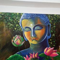 buddha in deep thinking , 36 x 24 inch, seema  bhati ,36x24inch,canvas,buddha paintings,acrylic color,GAL02319234888