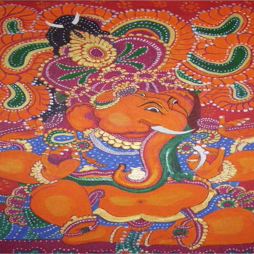 kerala murals - ganesha, 30 x 30 inch, dr karunakaran k,30x30inch,canvas,paintings,ganesha paintings | lord ganesh paintings,kerala murals painting,paintings for living room,paintings for office,paintings for hotel,paintings for school,paintings for hospital,acrylic color,GAL02314734889