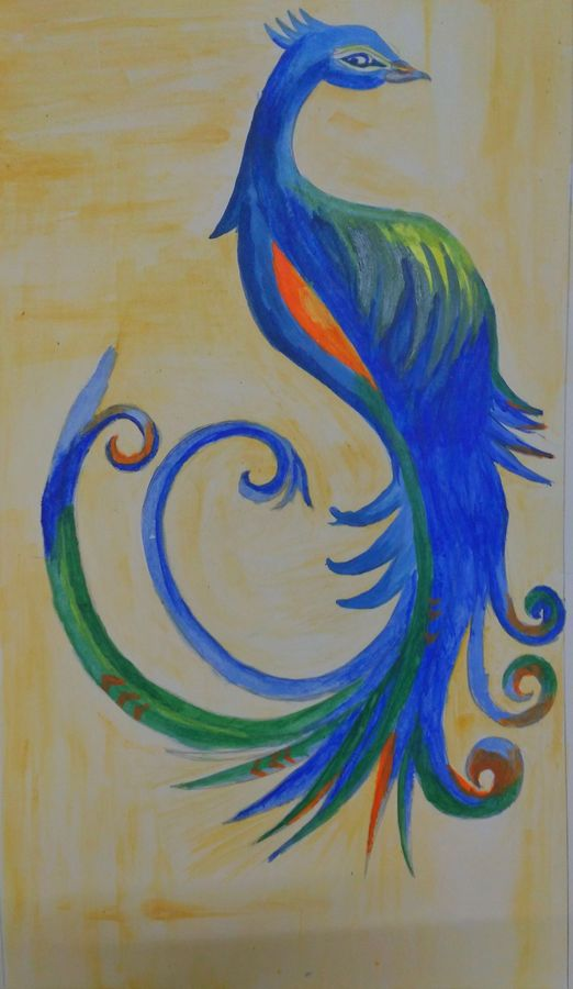 peacock abstract, 11 x 16 inch, nikhil kamble,abstract paintings,paintings for living room,animal paintings,drawing paper,watercolor,11x16inch,GAL012123489