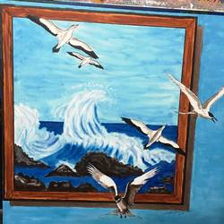 seabirds - 3d style painting, 30 x 30 inch, dr karunakaran k,30x30inch,canvas,paintings,nature paintings | scenery paintings,paintings for dining room,paintings for living room,paintings for office,paintings for kids room,paintings for hotel,paintings for school,paintings for hospital,acrylic color,GAL02314734890
