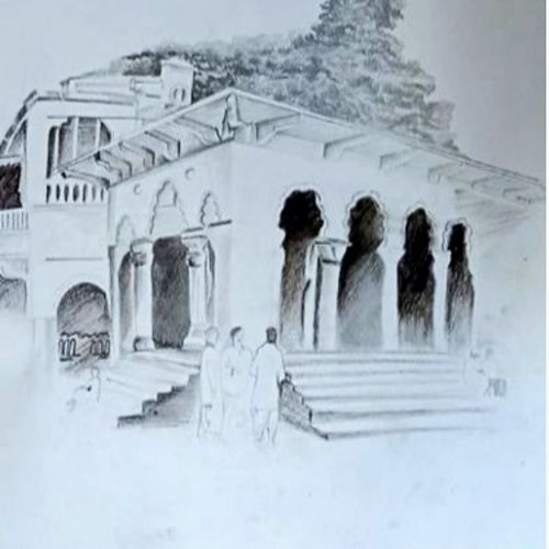 indian landscape charcoal sketch, 13 x 11 inch, sophiya mathew,13x11inch,drawing paper,drawings,art deco drawings,fine art drawings,paintings for living room,paintings for bedroom,paintings for hotel,charcoal,paper,GAL02319434892