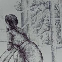 lady watching from balcony micron penwork, 8 x 12 inch, sophiya mathew,8x12inch,drawing paper,drawings,art deco drawings,fine art drawings,modern drawings,paintings for dining room,paintings for living room,paintings for bedroom,paintings for hotel,ball point pen,paper,GAL02319434897