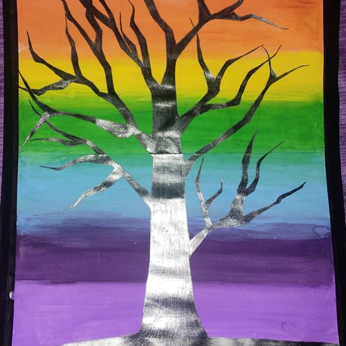 the rainbow tree., 13 x 16 inch, manya sharma,13x16inch,brustro watercolor paper,paintings,wildlife paintings,landscape paintings,modern art paintings,pencil color,poster color,watercolor,paper,GAL02310734898