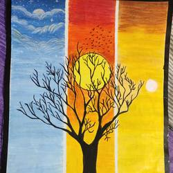 the three times of a day, 15 x 21 inch, manya sharma,15x21inch,brustro watercolor paper,paintings,abstract paintings,wildlife paintings,landscape paintings,expressionism paintings,impressionist paintings,pastel color,pencil color,poster color,watercolor,paper,GAL02310734899