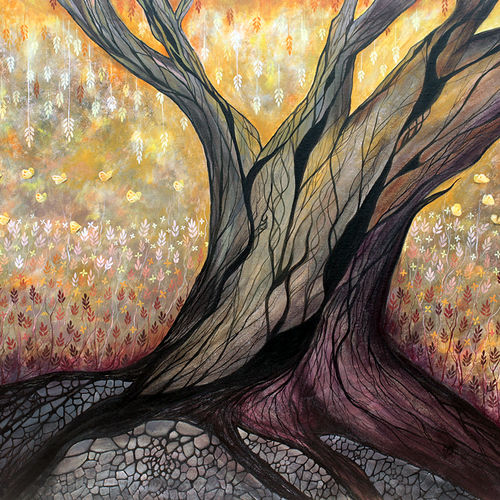 dreaming tree, 44 x 36 inch, seby augustine,abstract paintings,paintings for living room,canvas,acrylic color,44x36inch,GAL0150349