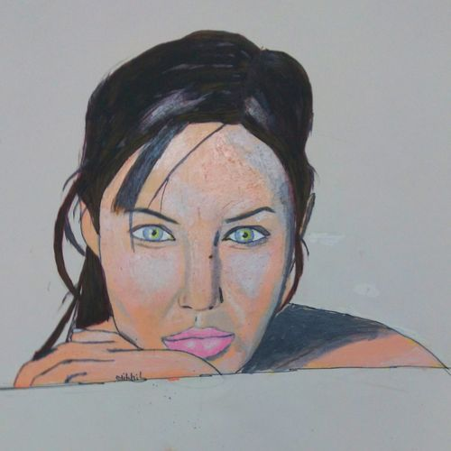 angelina jolie, 8 x 10 inch, nikhil kamble,portrait paintings,paintings for living room,drawing paper,oil,8x10inch,GAL012123490