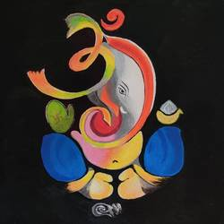 ganesh diaries, 7 x 11 inch, pranoti kirtikar,7x11inch,paper,paintings,ganesha paintings | lord ganesh paintings,paintings for living room,paintings for office,paintings for hospital,acrylic color,GAL02312434907