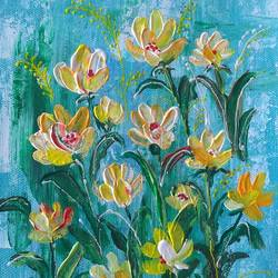 flowers, 6 x 8 inch, madhurita ghose,6x8inch,canvas,abstract paintings,flower paintings,acrylic color,GAL02323434915