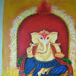 ganesha with books, 8 x 12 inch, madhurita ghose,8x12inch,canvas,abstract paintings,acrylic color,GAL02323434917