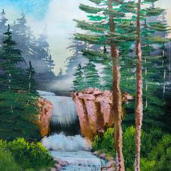 mystic waterfall, 12 x 17 inch, swapnil jadhav,12x17inch,canvas,paintings,landscape paintings,nature paintings | scenery paintings,paintings for dining room,paintings for living room,paintings for bedroom,paintings for office,paintings for kitchen,paintings for hospital,oil color,GAL02304434919
