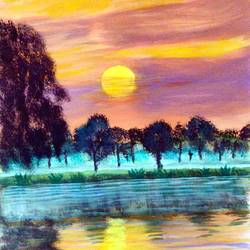 lake at sunset, 12 x 17 inch, swapnil jadhav,12x17inch,thick paper,paintings,landscape paintings,nature paintings | scenery paintings,paintings for dining room,paintings for living room,paintings for bedroom,paintings for office,paintings for hotel,paintings for kitchen,paintings for hospital,poster color,paper,GAL02304434922