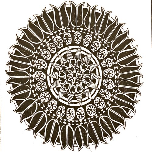 ring of lotus, 8 x 12 inch, umang kejriwal,8x12inch,paper,drawings,abstract drawings,illustration drawings,impressionist drawings,modern drawings,surrealism drawings,paintings for dining room,paintings for living room,paintings for hotel,paintings for kitchen,pen color,paper,GAL02325134935