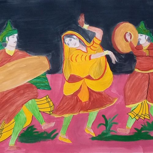 lady dancing, 9 x 11 inch, mrs. kalyani lahon,folk art paintings,paper,poster color,9x11inch,GAL06573494