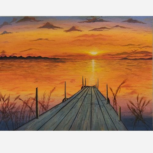 beautiful sunset, where two horizon met., 16 x 12 inch, dipti singh,16x12inch,canvas,paintings,landscape paintings,realistic paintings,paintings for living room,acrylic color,GAL01732234942