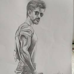 hrithik roshan, 11 x 14 inch, subrata boral,11x14inch,paper,drawings,figurative drawings,paintings for dining room,paintings for living room,paintings for bedroom,paintings for office,paintings for kids room,pencil color,GAL02302334944