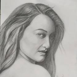 sonakshi sinha, 11 x 14 inch, subrata boral,11x14inch,paper,drawings,portrait drawings,paintings for dining room,paintings for living room,paintings for bedroom,paintings for office,paintings for hotel,paintings for school,pencil color,GAL02302334946