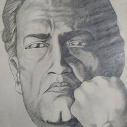 satyajit ray, 11 x 15 inch, subrata boral,11x15inch,paper,drawings,portrait drawings,paintings for dining room,paintings for living room,paintings for bedroom,paintings for office,paintings for hotel,paintings for school,pencil color,GAL02302334947