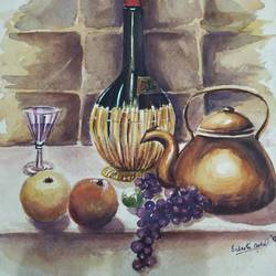 still life, 11 x 15 inch, subrata boral,11x15inch,handmade paper,paintings,still life paintings,paintings for dining room,paintings for office,paintings for hotel,paintings for kitchen,paintings for school,watercolor,GAL02302334951