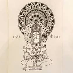 the deity lord hanuman, 8 x 12 inch, umang kejriwal,8x12inch,thick paper,drawings,radha krishna drawings,ganesha drawings,paintings for living room,pen color,paper,GAL02325134962
