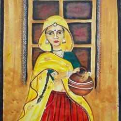a beautiful lady, 17 x 23 inch, mrs. bharti  verma,17x23inch,cartridge paper,paintings,realistic paintings,acrylic color,GAL02280434968