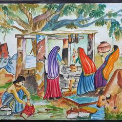 an village view, 17 x 23 inch, mrs. bharti  verma,17x23inch,cartridge paper,paintings,landscape paintings,nature paintings | scenery paintings,realistic paintings,paintings for living room,paintings for bedroom,paintings for office,paintings for school,paintings for living room,paintings for bedroom,paintings for office,paintings for school,watercolor,GAL02280434970