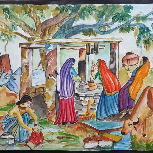 an village view, 17 x 23 inch, mrs. bharti  verma,17x23inch,cartridge paper,paintings,landscape paintings,nature paintings   scenery paintings,realistic paintings,paintings for living room,paintings for bedroom,paintings for office,paintings for school,paintings for living room,paintings for bedroom,paintings for office,paintings for school,watercolor,GAL02280434970