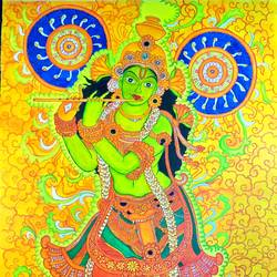 krishna mural painting, 35 x 48 inch, lokanathan pm,35x48inch,canvas,paintings,kerala murals painting,acrylic color,mixed media,GAL02331734971