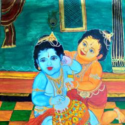 krishna balaram, 35 x 41 inch, lokanathan pm,35x41inch,canvas,paintings,radha krishna paintings,paintings for living room,acrylic color,GAL02331734972
