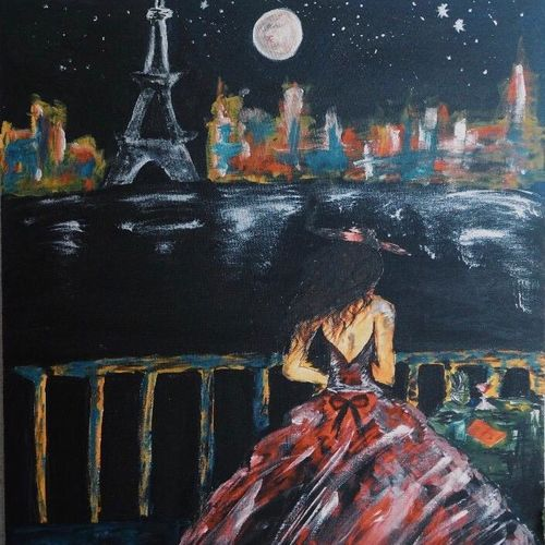 parisian nights, 36 x 48 inch, rupsha bose,36x48inch,canvas,paintings,cityscape paintings,conceptual paintings,contemporary paintings,paintings for living room,paintings for office,acrylic color,GAL02334234977