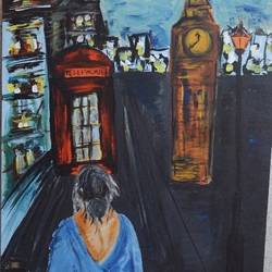 a windy london morning, 24 x 36 inch, rupsha bose,24x36inch,canvas,cityscape paintings,conceptual paintings,contemporary paintings,paintings for living room,paintings for office,paintings for living room,paintings for office,acrylic color,GAL02334234978