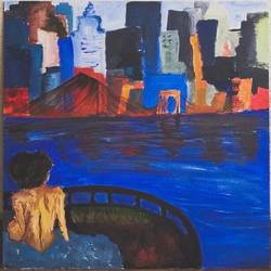a new york outing, 24 x 24 inch, rupsha bose,24x24inch,canvas,paintings,cityscape paintings,conceptual paintings,contemporary paintings,paintings for living room,paintings for office,acrylic color,GAL02334234979