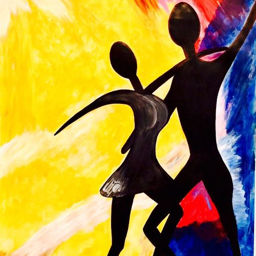 dance with me, 21 x 29 inch, nikki saini,figurative paintings,paintings for dining room,canvas,acrylic color,21x29inch,GAL011573498