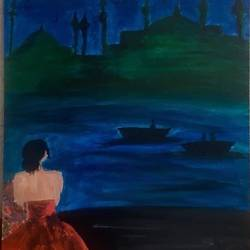 emerald sea, 20 x 24 inch, rupsha bose,20x24inch,canvas,paintings,cityscape paintings,conceptual paintings,contemporary paintings,paintings for dining room,paintings for living room,paintings for office,acrylic color,GAL02334234982