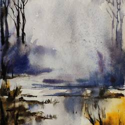 morning view, 8 x 11 inch, shankhadeep  mondal,8x11inch,handmade paper,paintings,landscape paintings,nature paintings | scenery paintings,paintings for dining room,paintings for living room,paintings for bedroom,paintings for office,paintings for kids room,paintings for hotel,paintings for kitchen,paintings for school,paintings for hospital,watercolor,GAL01403034987