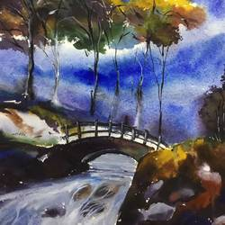 river bridge, 11 x 15 inch, shankhadeep  mondal,11x15inch,handmade paper,paintings,landscape paintings,nature paintings | scenery paintings,paintings for dining room,paintings for living room,paintings for bedroom,paintings for office,paintings for kids room,paintings for hotel,paintings for kitchen,paintings for school,paintings for hospital,watercolor,GAL01403034989