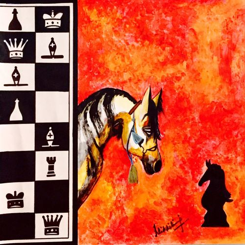 checkmate, 23 x 21 inch, nikki saini,illustration paintings,paintings for dining room,canvas,acrylic color,23x21inch,GAL011573499