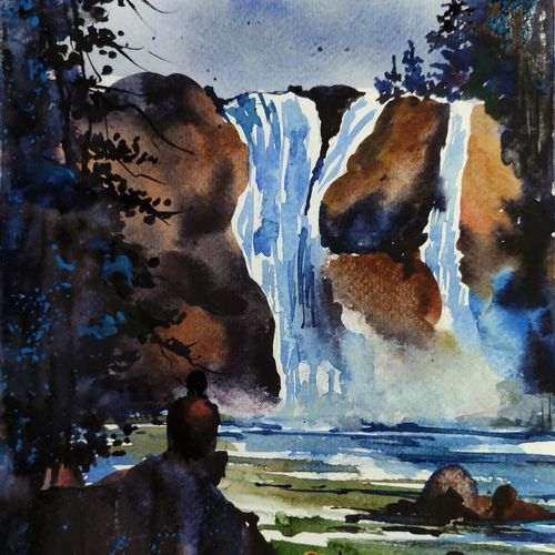 meenmutty waterfall, 8 x 11 inch, shankhadeep  mondal,8x11inch,brustro watercolor paper,paintings,landscape paintings,nature paintings | scenery paintings,paintings for dining room,paintings for living room,paintings for bedroom,paintings for office,paintings for kids room,paintings for hotel,paintings for kitchen,paintings for school,paintings for hospital,paintings for dining room,paintings for living room,paintings for bedroom,paintings for office,paintings for kids room,paintings for hotel,paintings for kitchen,paintings for school,paintings for hospital,watercolor,GAL01403034990