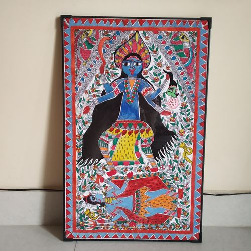 kali maa, 14 x 22 inch, sudha lekh,14x22inch,thick paper,drawings,folk drawings,paintings for dining room,paintings for living room,paintings for bedroom,paintings for office,paintings for hotel,paintings for school,pen color,pencil color,watercolor,ball point pen,GAL02307234994
